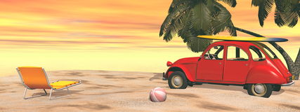 Deuch french car holidays at the beach - 3D render Royalty Free Stock Images