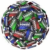 Deuda crediticia del dinero del préstamo de la esfera de las tarjetas de crédito de las palabras del poder adquisitivo Imagen de archivo