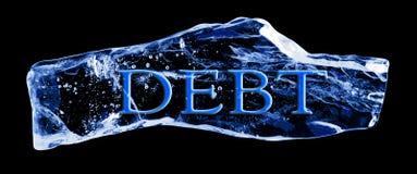 DEUDA de la palabra congelada en el hielo Imagen de archivo libre de regalías