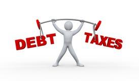 deuda e impuestos de elevación de la persona 3d Fotografía de archivo