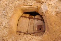Deur in Berber graanschuur, Libië Stock Afbeelding