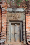 Deur bij Bakong-Tempel, Kambodja Royalty-vrije Stock Foto