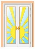 Deur - de zon stock illustratie