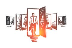 Deur, kans, baan, zaken, carrièreconcept Hand getrokken geïsoleerde vector stock illustratie