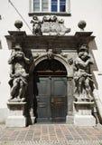 Deur met Barok kader, Ljubljana stock foto