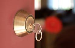 Deur met slot en sleutel stock afbeelding