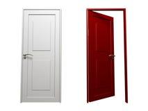 Deur (Rood en Wit) Stock Afbeeldingen