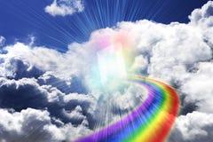 Deur van regenboog stock illustratie
