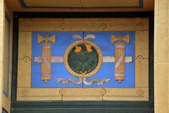 Deurdecoratie stock afbeelding