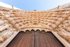 Deurdetail in het Klooster van Batalha Stock Foto