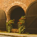 Deuren en ingangen toneel, unieke, oude, versierde architectuur Stock Foto's