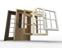Deuren en venstersselectie Stock Afbeeldingen