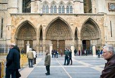 Deuren van de kathedraal van Leon Stock Foto