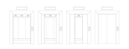 Deuren van de overzichts de open en gesloten lift De vectorillustratie van de vooraanzichtdeur Royalty-vrije Stock Afbeeldingen