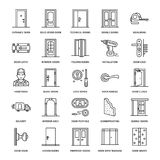 Deureninstallatie, de pictogrammen van de reparatielijn Diverse deurtypes, handvat, klink, slot, scharnieren Het binnenlandse ont stock illustratie