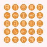 Deureninstallatie, de pictogrammen van de reparatielijn Diverse deurtypes, handvat, klink, slot, scharnieren Het binnenlandse ont vector illustratie