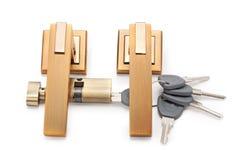 Deurhandvatten, sloten en sleutels Royalty-vrije Stock Afbeelding