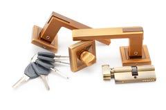 Deurhandvatten, sloten en sleutels Royalty-vrije Stock Foto