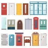 Deuropening van de deuren de vector voordieingang aan huis en reeks van het inbouwen van de vlakke geïsoleerde illustratie wordt  Stock Fotografie