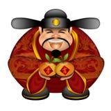 Deus chinês do dinheiro com tanjerinas Fotografia de Stock
