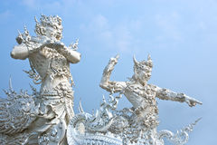 Deus da estátua da morte no templo de Rong Khun Imagens de Stock Royalty Free