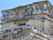 Deus with feet on the top. And head at the bottom of a maya temple - Tulum - Mexico Stock Photo