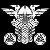 Deus Wotan, dois corvos e protetores das runas Ilustração da mitologia de noruegueses ilustração do vetor