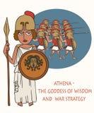 Deusa do grego clássico de Athena de desenhos animados da sabedoria e da estratégia ilustração do vetor