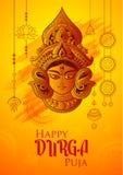 Deusa Durga Face no fundo feliz de Durga Puja Subh Navratri ilustração stock