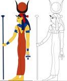 Deusa egípcia antiga - Hathor Fotos de Stock Royalty Free