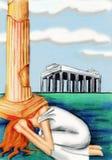 A deusa grega Athena. Os danos da sabedoria ilustração royalty free