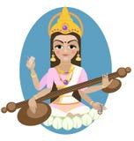 Deusa hindu Saraswati imagem de stock royalty free