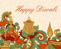 Deusa Lakshmi e Lord Ganesha para a oração de Diwali Fotografia de Stock Royalty Free