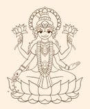 Deusa Lakshmi - traz a riqueza e a prosperidade. ilustração royalty free