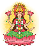 Deusa Lakshmi - traz a riqueza e a prosperidade ilustração stock