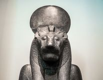 Deusa Sekhmet em British Museum em Londres (hdr) fotografia de stock