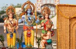 Deuses hindu Rama, lakshmana, ídolos de Sita e de hanuman fotografia de stock