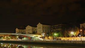 Deusto,毕尔巴鄂,西班牙,时间间隔大学主楼夜视图  股票录像
