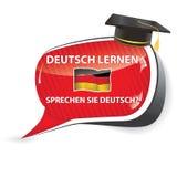 Deutch lernen. Sprechen sie Deutch? - German bubble speech. Do you speak German? Learn German / sticker / sign / icon with graduation cap and the flag of Stock Image