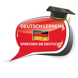 Deutch lernen. Sprechen sie Deutch? - German bubble speech. Do you speak German? Learn German  / sticker  / sign / icon with graduation cap and the flag of Royalty Free Stock Images