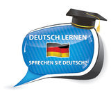 Deutch lernen. Sprechen sie Deutch? - German bubble speech. Do you speak German? Learn German  / sticker  / sign / icon with graduation cap and the flag of Royalty Free Stock Image