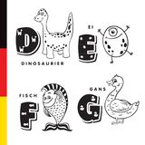 Deutsch alphabet. Dinosaur, egg, fish, goose. Vector letters and characters Stock Photo