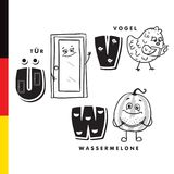 Deutsch alphabet. Door, bird, watermelon. Vector letters and characters Stock Image