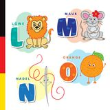 Deutsch alphabet. Lion, mouse, stylus, orange. Vector letters and characters vector illustration