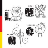 Deutsch alphabet. Lion, mouse, stylus, orange. Vector letters and characters royalty free illustration