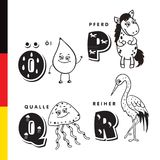Deutsch alphabet. Olive oil, horse, jellyfish, heron. Vector letters and characters Royalty Free Stock Images