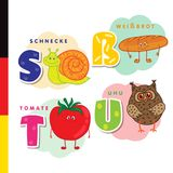 Deutsch alphabet. Snail, white bread, tomato, owl. Vector letters and characters Stock Image