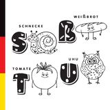 Deutsch alphabet. Snail, white bread, tomato, owl. Vector letters and characters Stock Images