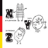 Deutsch alphabet. Xylophone, Yeti, lemon. Vector letters and characters. Royalty Free Stock Photo