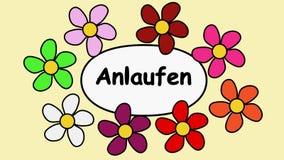 Deutsch blomma- och textstart Tecknad filmmodell med blommor och textstart
